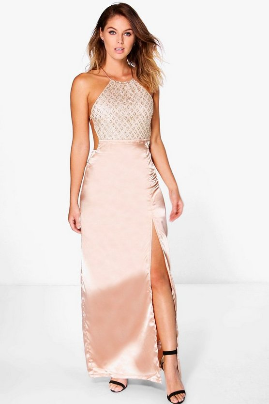 Boutique Mura Sequin Top Satin Maxi Dress