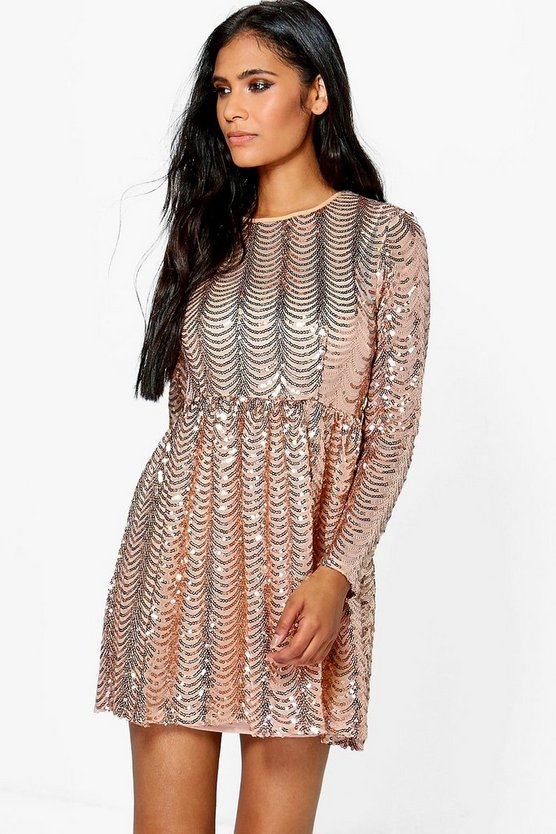 Xena Printed Sequin Long Skater Dress