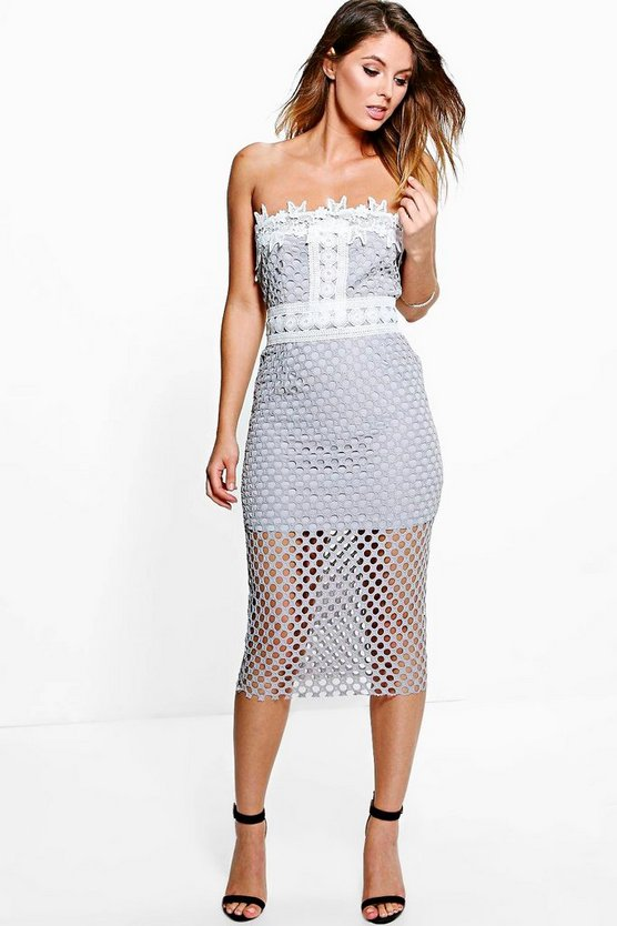 Boutique Tyra Crochet Midi Bodycon Dress