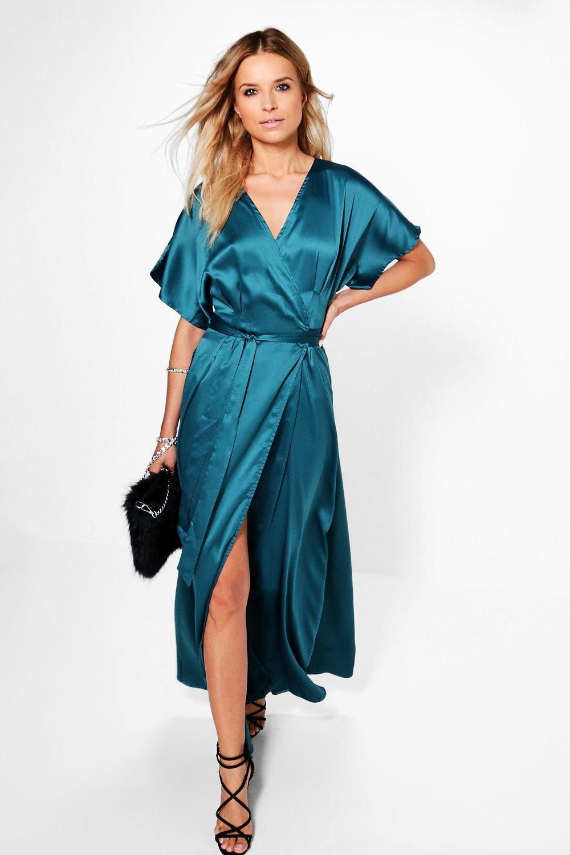 Rudy Satin Kimono Plunge Wrap Maxi Dress. Hover to zoom 7e53042ee