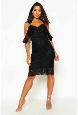 Womens Black Lace Open Shoulder Midi Dress
