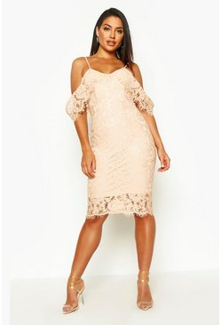 Womens Nude Lace Open Shoulder Midi Dress