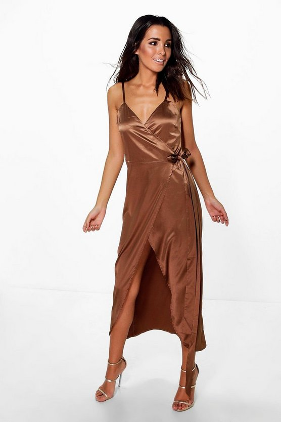 Mimi Satin Strappy Wrap Tie Belt Midi Dress