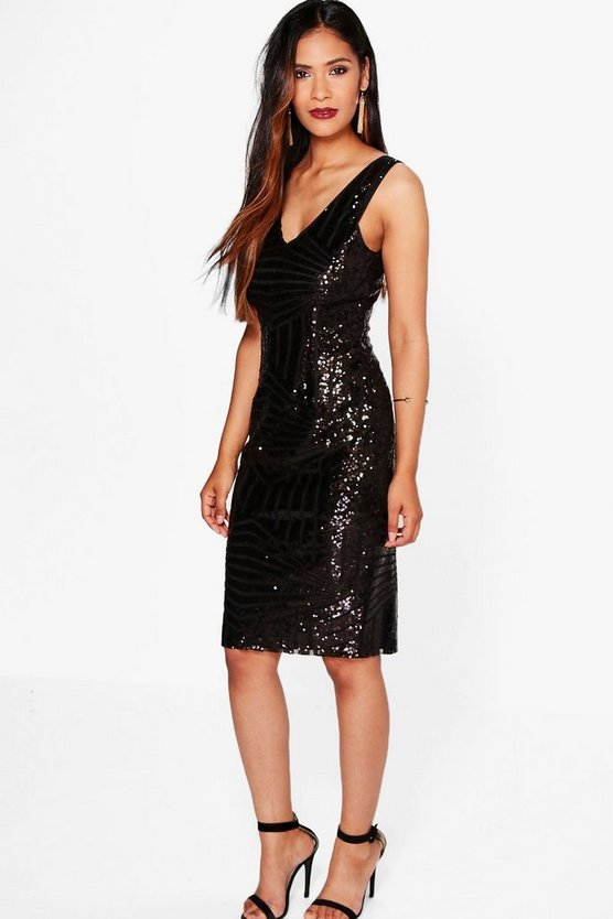 Boutique Jody Sequin Mesh Panel Midi Dress