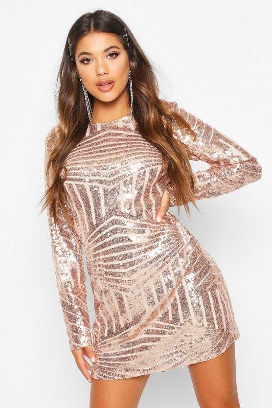 Boutique  Sequin Mesh Bodycon Dress