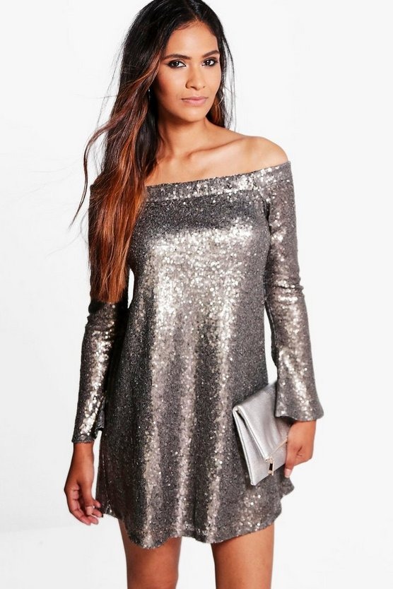 Boutique Sequin Off Shoulder Shift Dress