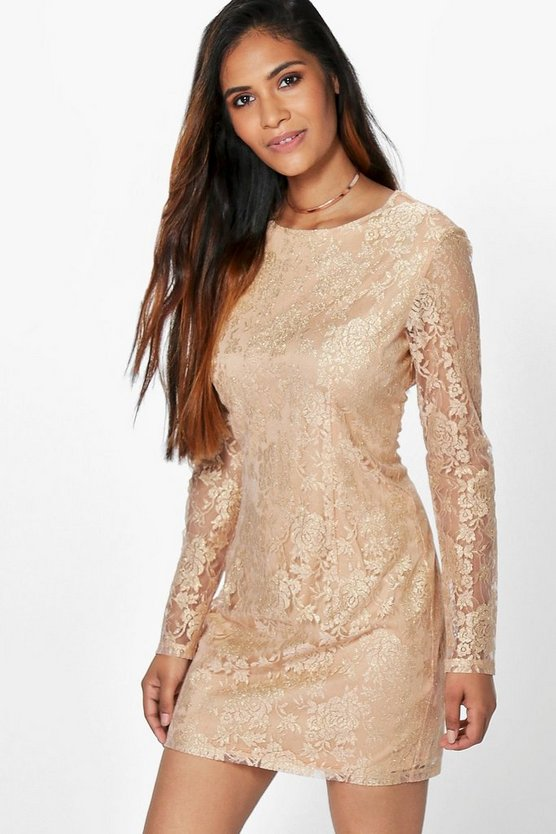 Aleesha Metallic Lace Bodycon Dress