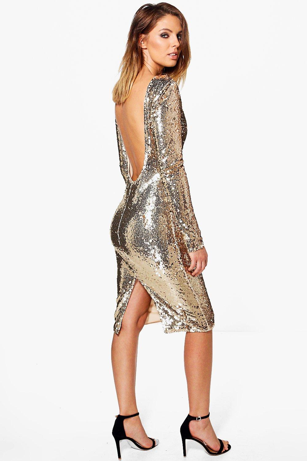 5052eaeaa384 Womens Boutique Sequin Open Back Midi Dress. Hover to zoom