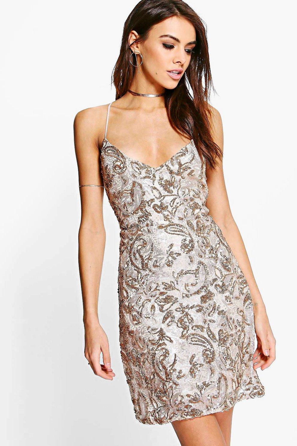 bdbab6ee Womens Gold Boutique Sequin Bodycon Dress