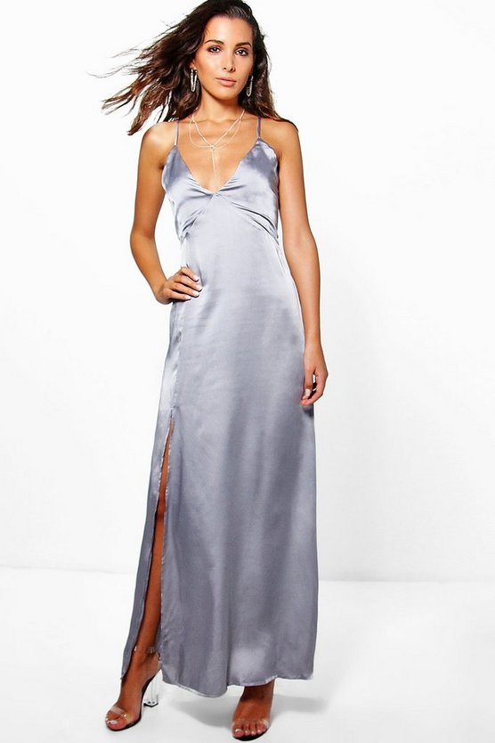 Perrie Satin Strappy Seam Detail Slip Dress
