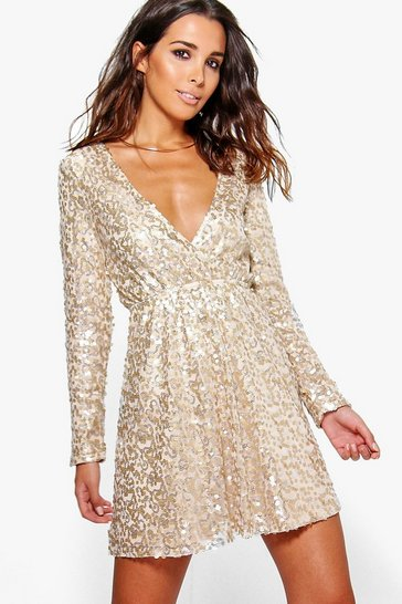 Womens Gold Boutique  Sequin Wrap Skater Dress