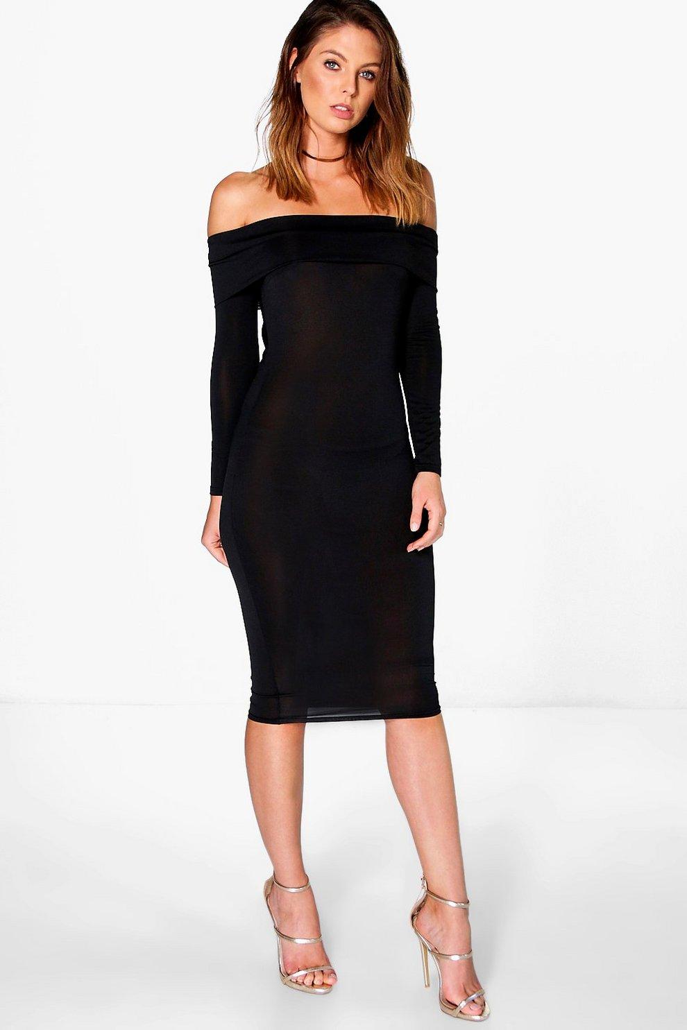 ba48a8c37a9e Amy Slinky Oversized Off The Shoulder Midi Dress