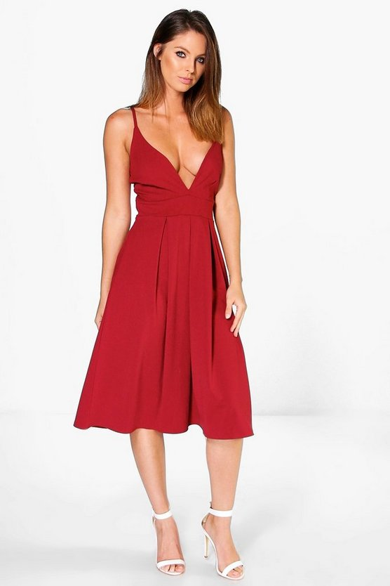 Ash Plunge Neck Full Skirt Midi Skater Dress