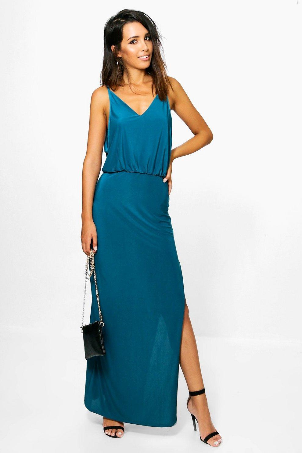 d2afdecb50 Ria Slinky Low Side Thigh Split Maxi Dress | Boohoo