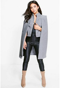 Womens Grey Ava Wool Look Cape Coat