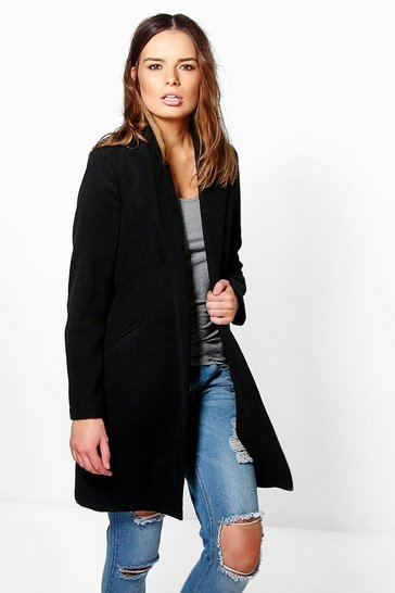 Womens Black Wool Look Coat