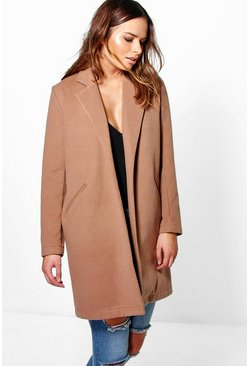 Womens Camel Wool Look Coat