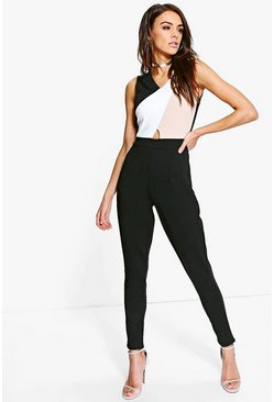 Womens Black Colour Block Skinny Leg Jumpsuit