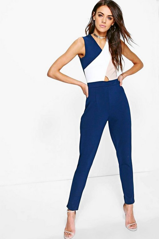 Womens Navy Colour Block Skinny Leg Jumpsuit