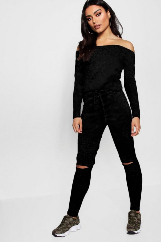 Bardot Drawstring Slit Knee Jumpsuit