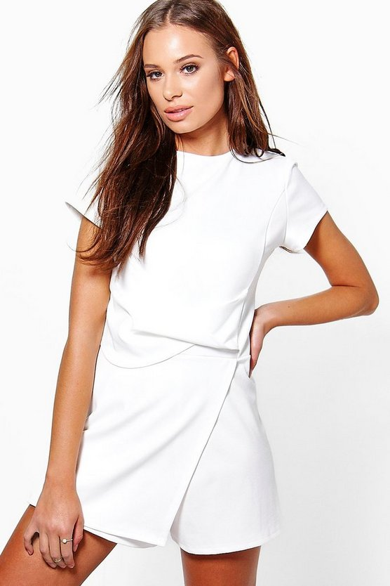 Jenny Capped Sleeve Drape Front Skort Playsuit