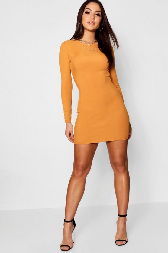 Womens Amber Ribbed Basic Long Sleeve Bodycon Dress
