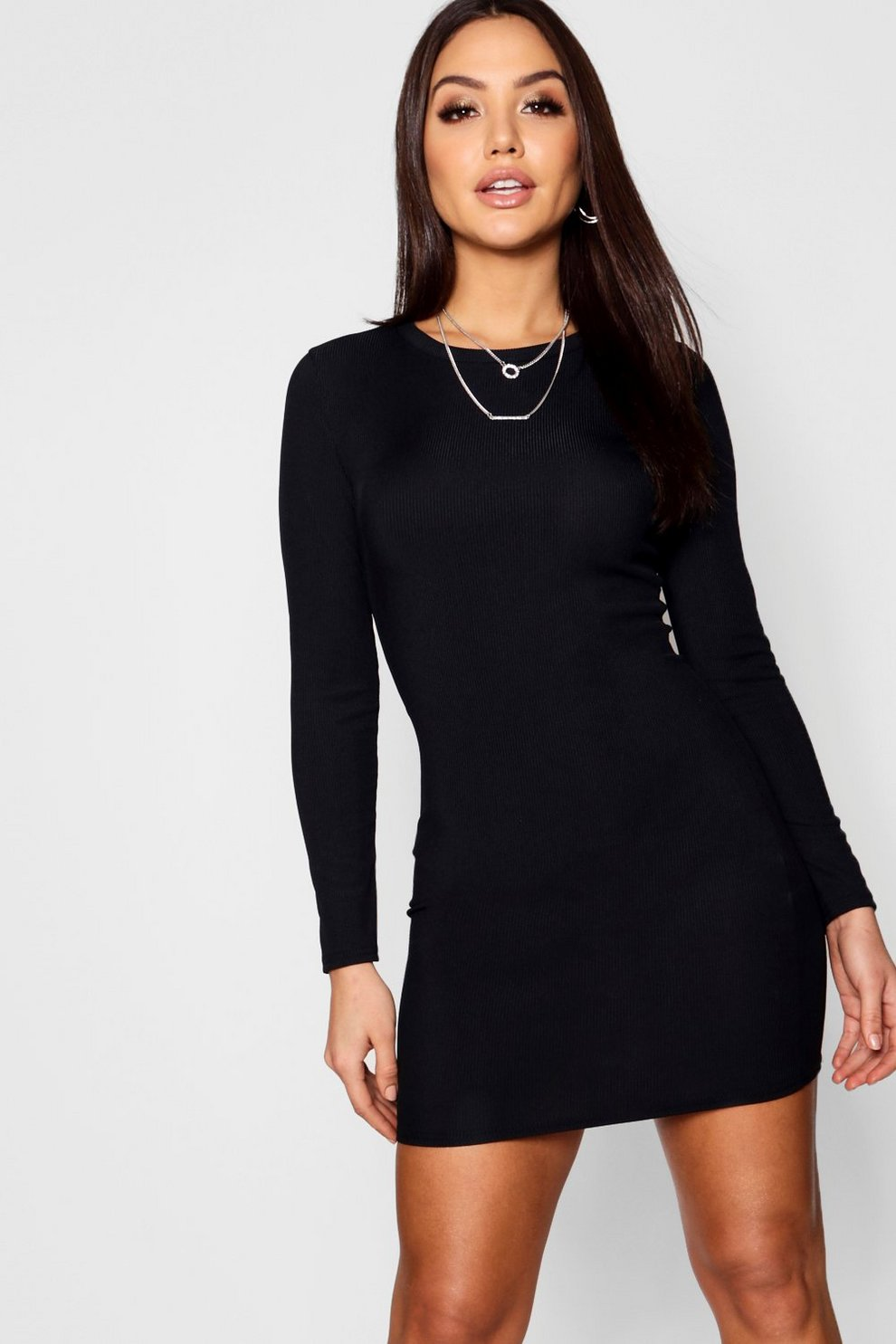 58461a19366a Womens Black Ribbed Basic Long Sleeve Bodycon Dress. Hover to zoom