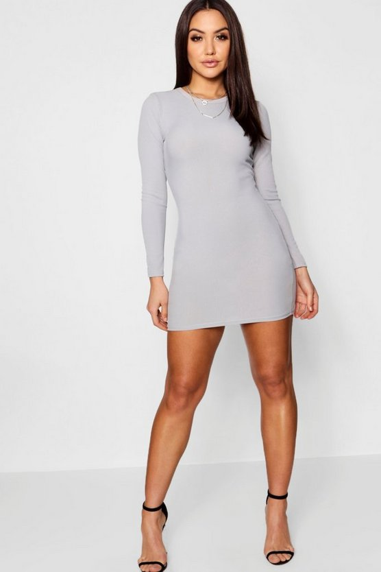 Grey Ribbed Basic Long Sleeve Bodycon Dress