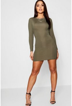 Womens Khaki Ribbed Basic Long Sleeve Bodycon Dress