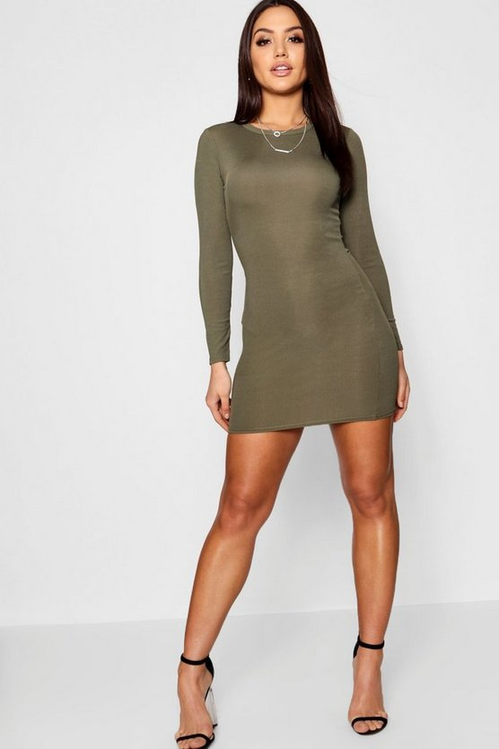 Ribbed Basic Long Sleeve Bodycon Dress