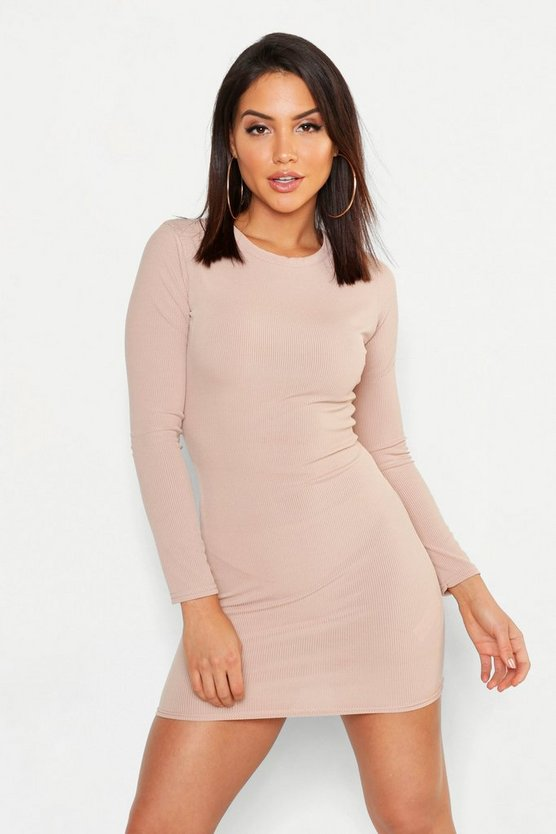 Womens Sand Ribbed Basic Long Sleeve Bodycon Dress