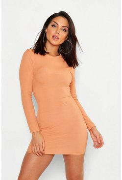 Womens Terracotta Ribbed Basic Long Sleeve Bodycon Dress