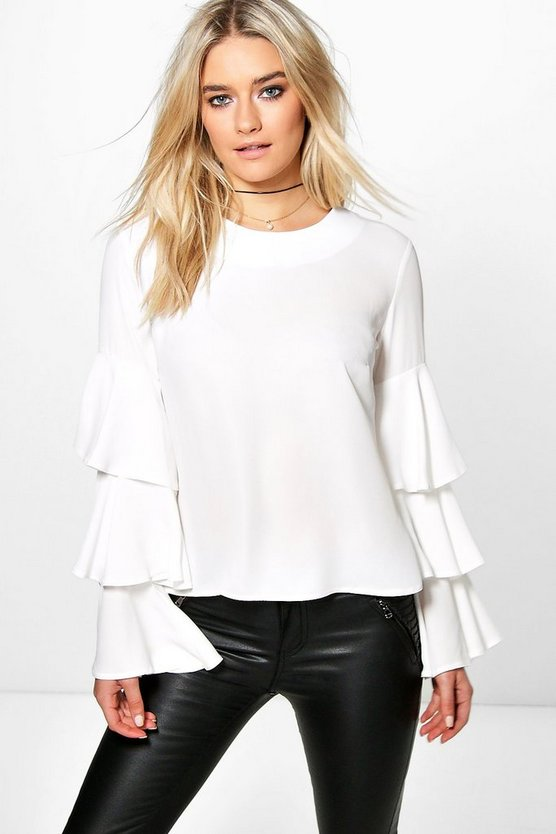 Frill Sleeve Woven Blouse
