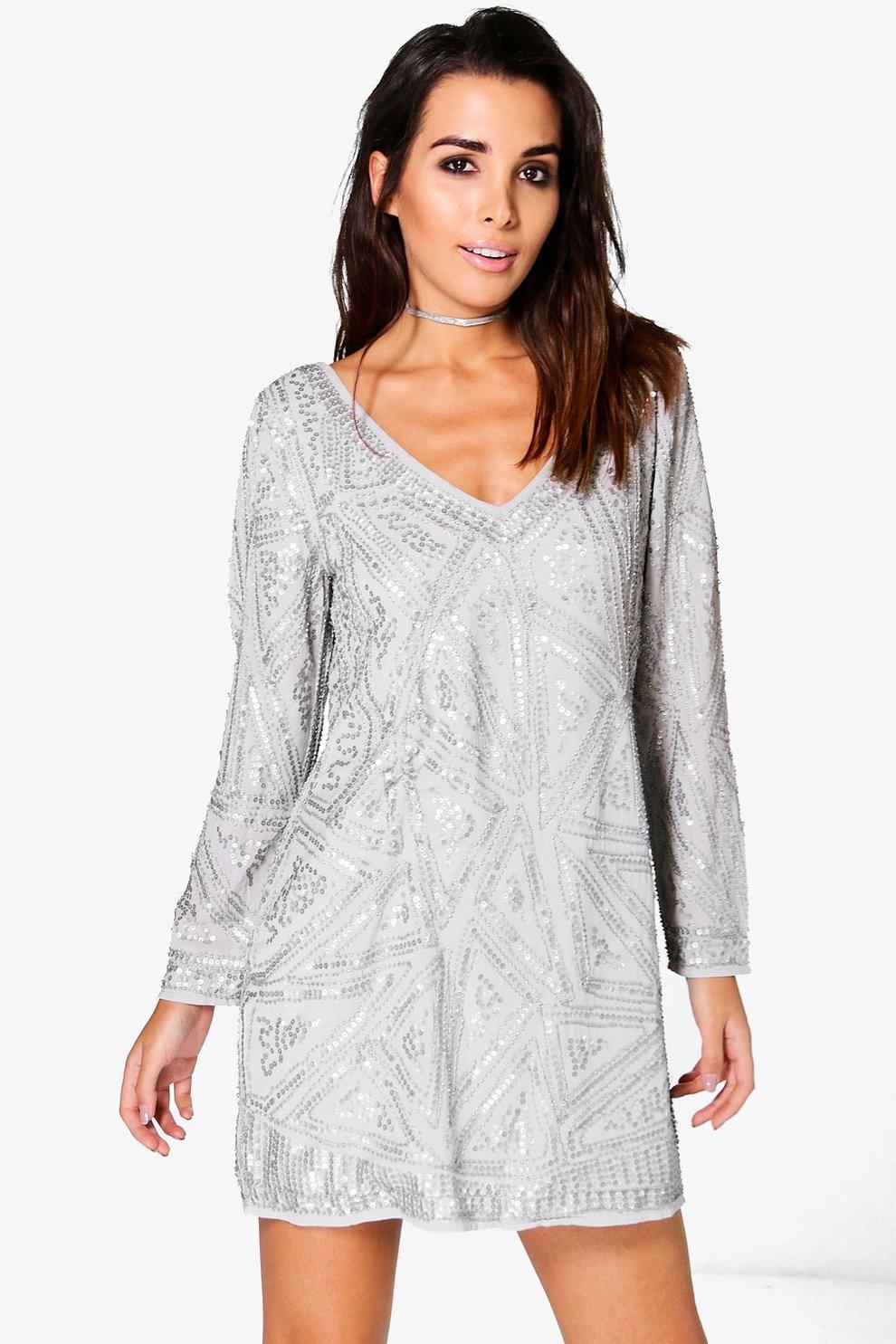 d3228cc909db Womens Grey Boutique Roksanda Embellished Shift Dress