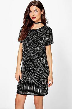 Where to Buy 1920s Dresses Boutique Di Embellished Cap Sleeve Shift Dress black $72.00 AT vintagedancer.com