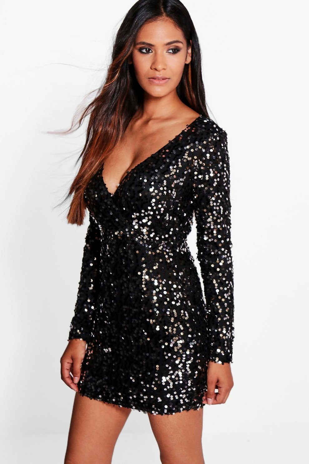 28b8d21f167561 Boutique Iva Sequin Wrap Top Bodycon Dress