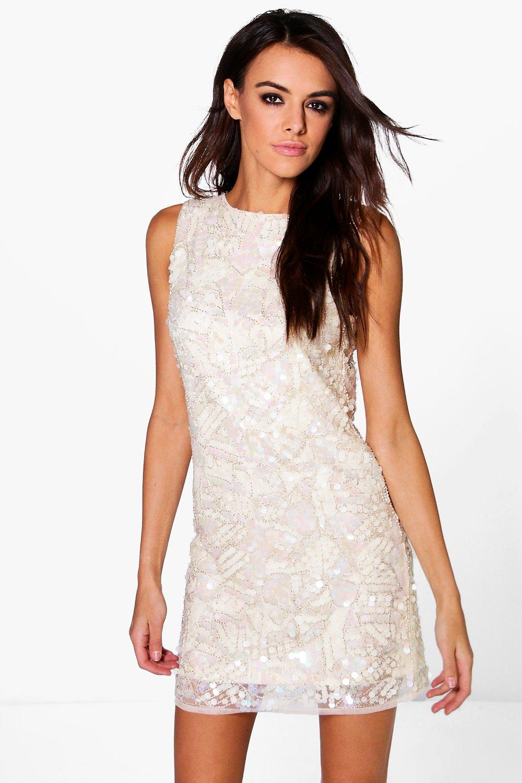 1920s Wedding Dresses- Art Deco Style Boutique Jasmine Embellished Bodycon Dress cream $38.00 AT vintagedancer.com