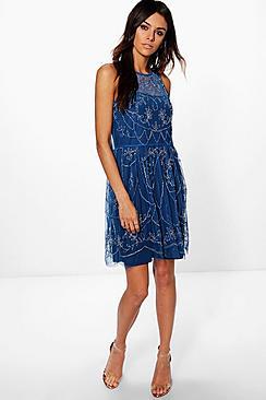 Where to Buy 1920s Dresses Boutique Xanthe Embellished Skater Dress navy $62.00 AT vintagedancer.com