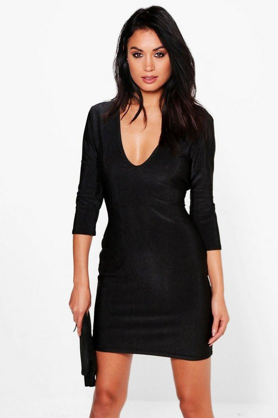 Diane Heavy Rib Metallic Bodycon Dress