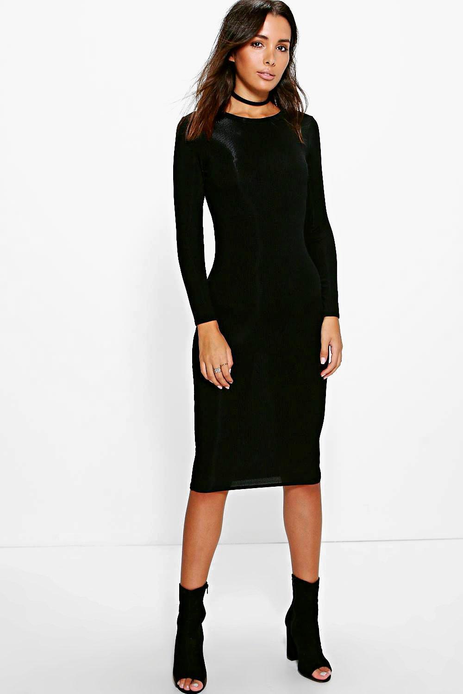 Constance Rib Long Sleeve Midi Dress | boohoo Australia