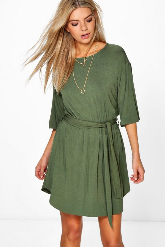 Flare Sleeve Tie Waist Shift Dress