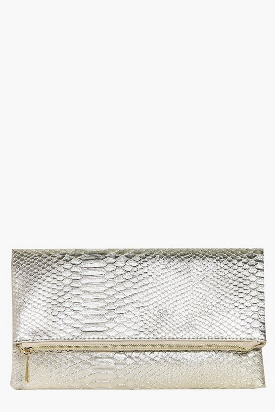 Womens Gold Lara Snake Effect Fold Over Clutch Bag