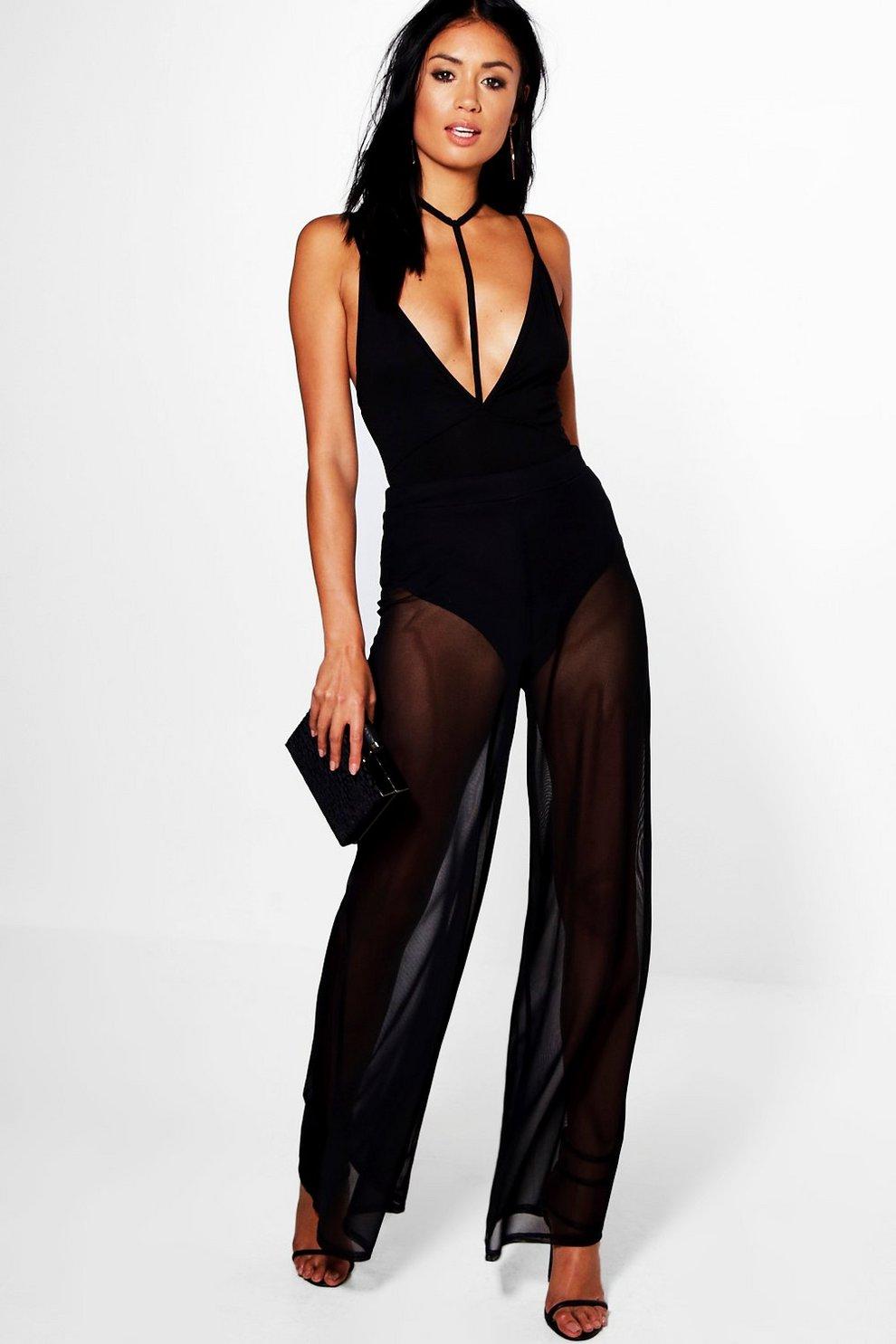 6e4abcea4047 Pia Mesh Overlay Wide Leg Trousers | Boohoo