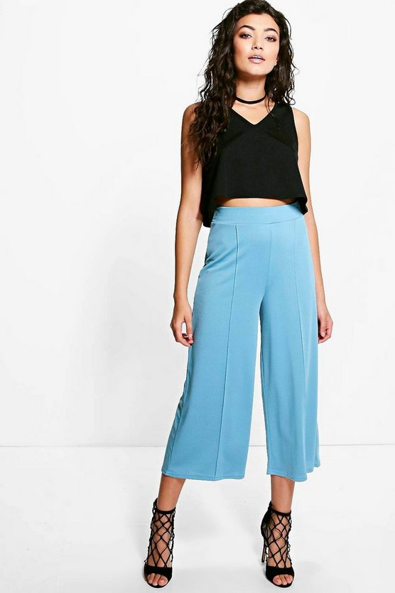 Sara Pin Tuck Wide Leg Crepe Trousers