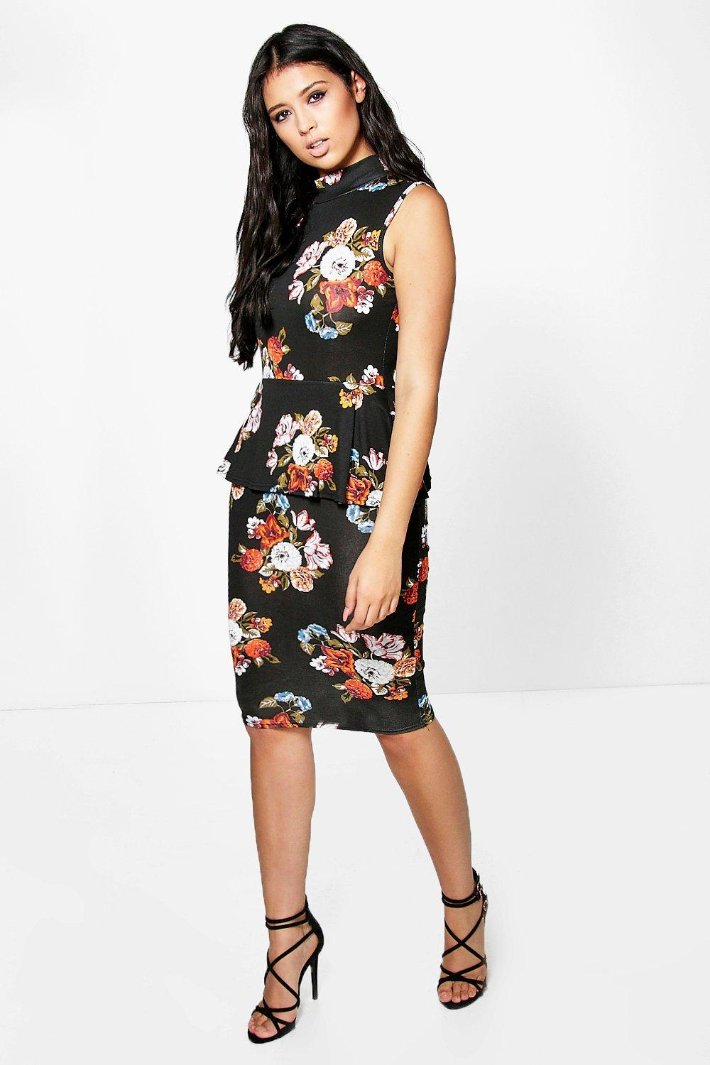 3c2396789132 ... High Neck Floral Peplum Midi Dress. Hover to zoom