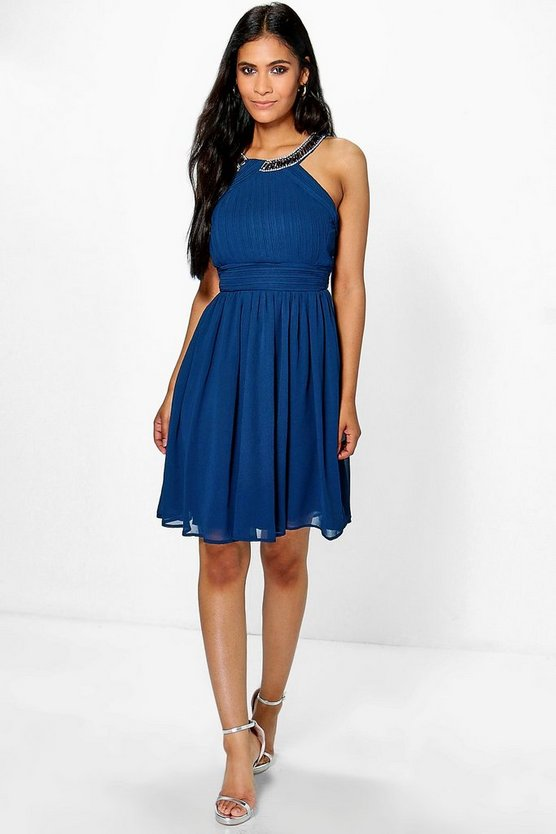 Em Boutique Embellished Pleat Skater Dress