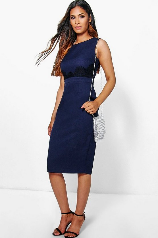 Ria Lace Waist Trim Detail Midi Dress