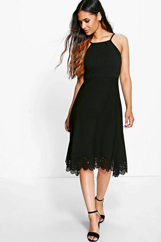Dani Lazer Hem Strappy Midi Skater Dress