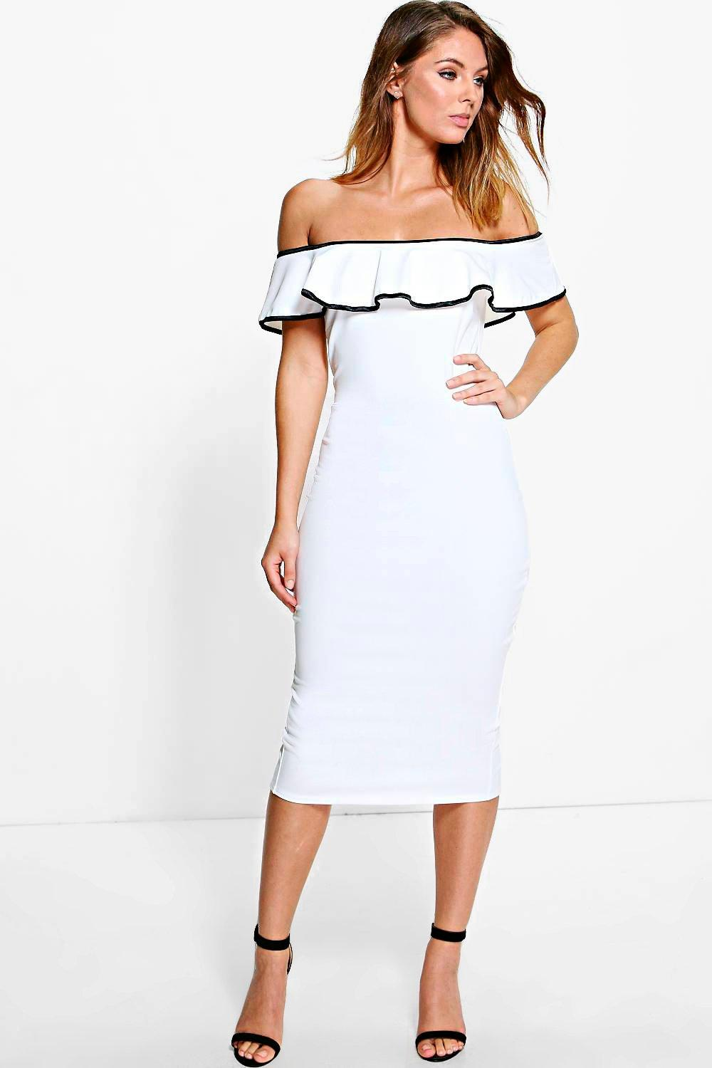 Osheanne Off The Shoulder Frill Midi Dress. Hover to zoom 7a8b059c1