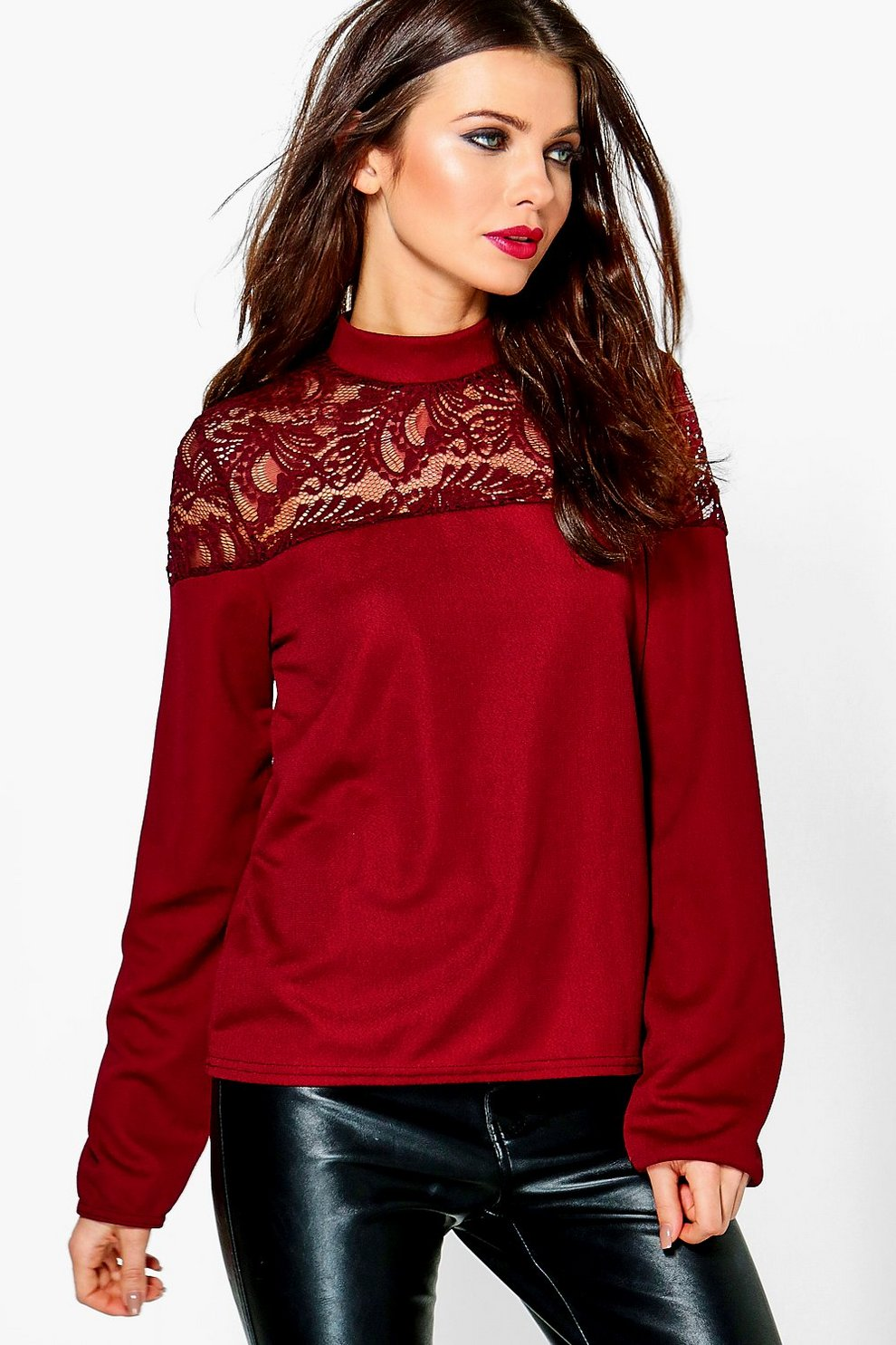 d0c2a2306c1f8 Stella Lace Insert Long Sleeve Top